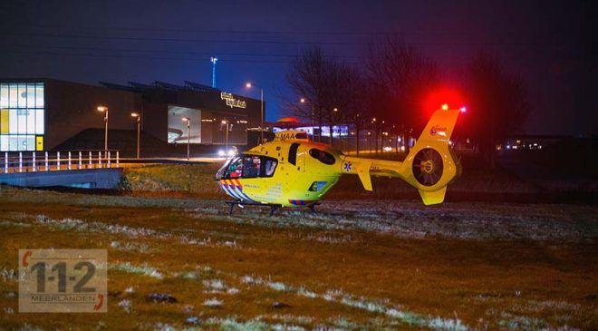 Hoofddorp – Traumahelikopter landt naast rotonde Bennebroekerweg