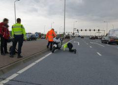 Schiphol-Rijk – Motorrijder schrikt van auto en gaat onderuit op de N201